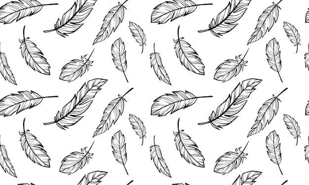 Modèle sans couture créé à partir de plumes esquissées à la main