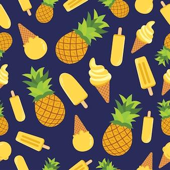 Modèle sans couture de crème glacée à l'ananas