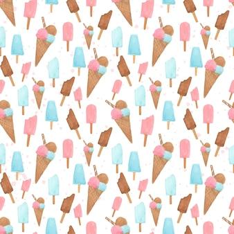 Modèle sans couture de crème glacée aquarelle