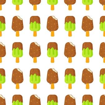 Modèle sans couture de crème glacée au chocolat