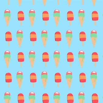 Modèle sans couture de crème glacée colorée