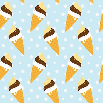 Modèle sans couture de crème glacée cône sur fond bleu
