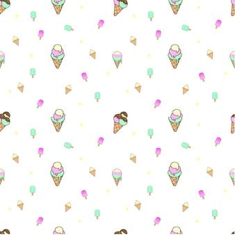 Modèle sans couture de crème glacée douce