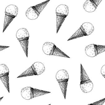 Modèle sans couture avec de la crème glacée. glace réaliste. illustration vectorielle dans le style de croquis.