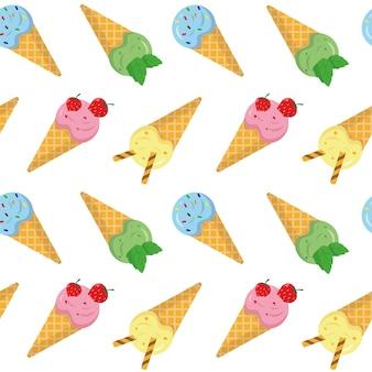 Modèle sans couture avec crème glacée glace sucrée dans les gaufres sur fond blanc