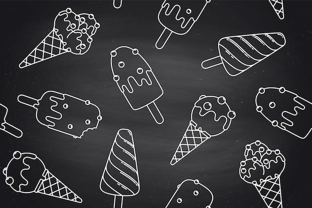 Modèle sans couture avec crème glacée en ligne graphique sur fond chlalk