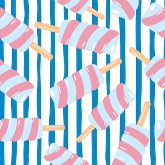 Modèle sans couture de crème glacée rose spirale aléatoire. fond blanc avec des lignes bleues.