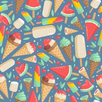 Modèle sans couture de crème glacée