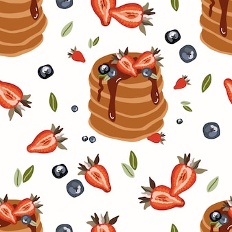 Modèle sans couture avec crêpe et fraise.