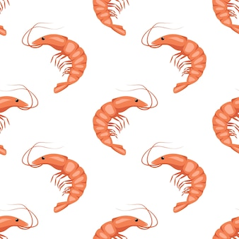 Modèle sans couture avec crevettes ou crevettes sur blanc