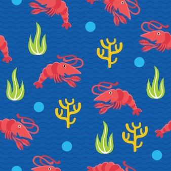 Modèle sans couture de crevettes mignon dans un style design plat