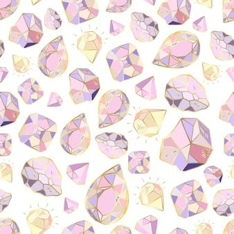 Modèle sans couture avec cristaux ou gemmes de vecteur