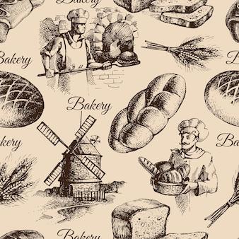 Modèle sans couture de croquis de boulangerie. illustration dessinée à la main vintage