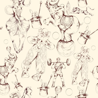 Modèle sans couture de croquis doodle cirque