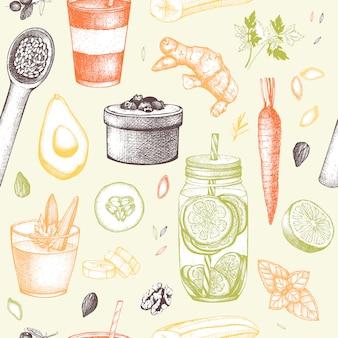 Modèle sans couture avec croquis d'éléments de régime dessinés à la main à l'encre. fond de programme vintage de nourriture saine et de désintoxication.
