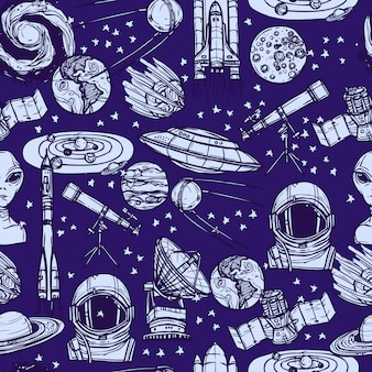 Modèle sans couture de croquis de l'espace