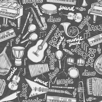 Modèle sans couture croquis d'instruments de musique