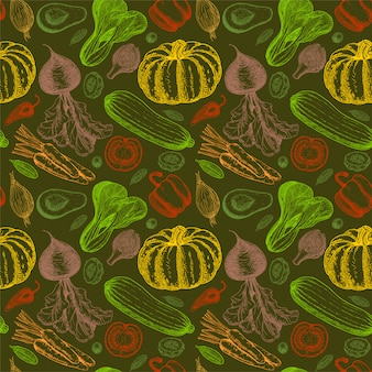 Modèle sans couture avec croquis de légumes. fond de légumes. la nourriture saine. légumes sur fond blanc. arrière-plan transparent de légumes colorés. illustration