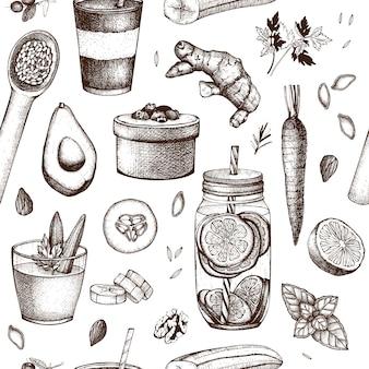 Modèle sans couture avec des croquis de nourriture et de boissons dessinés à la main à l'encre. aliments sains - fruits, légumes, noix, fond d'herbes. conception d'idées d'été.