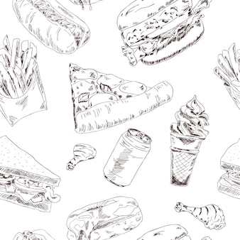 Modèle sans couture de croquis de restauration rapide