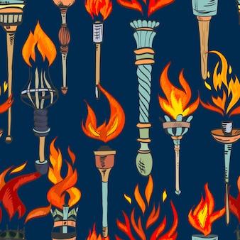 Modèle sans couture de croquis de torche