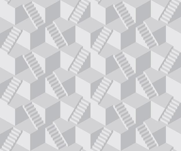 Modèle sans couture de cube escalier abstrait