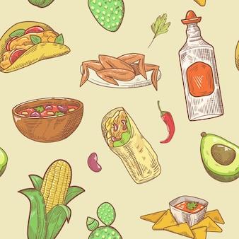Modèle sans couture de cuisine mexicaine