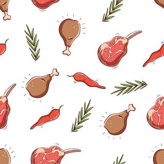 Modèle sans couture de cuisse de poulet avec de la viande crue et du piment