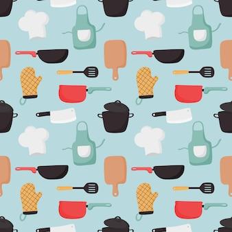 Modèle sans couture de cuisson des aliments et des icônes de la cuisine sur fond bleu.