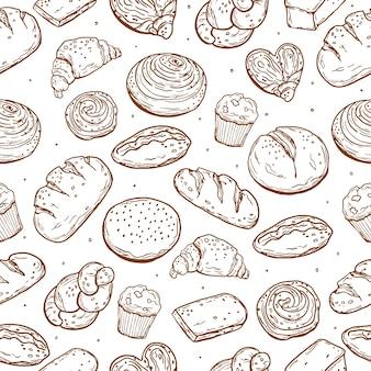 Modèle sans couture. cuisson variée. pain. style de griffonnage. pour votre design.