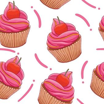 Modèle sans couture de cup cakes dans un style design plat