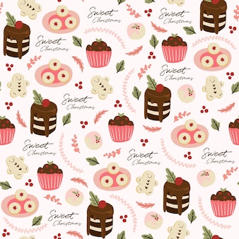 Modèle sans couture avec cupcake, gâteau, feuilles et dessert