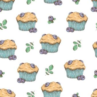 Modèle sans couture de cupcake. illustration vectorielle tirage au sort