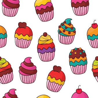 Modèle sans couture de cupcake
