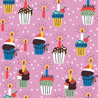 Modèle sans couture avec cupcakes d'anniversaire