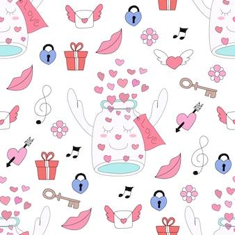 Modèle sans couture cute love cartoon style dessiné à la main.