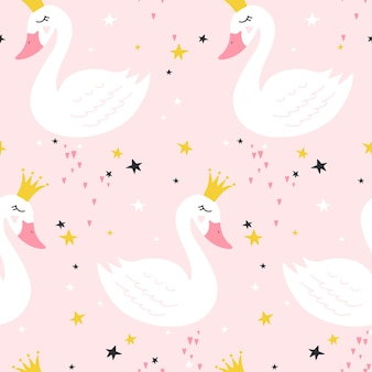 Modèle sans couture avec cygne princesse mignon sur fond rose.