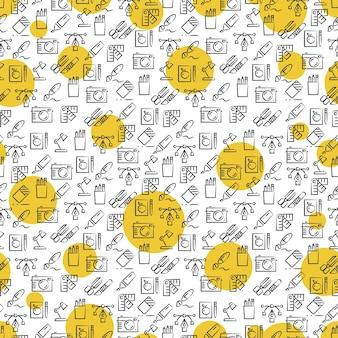 Modèle sans couture d'icônes de bureau avec des tours jaunes
