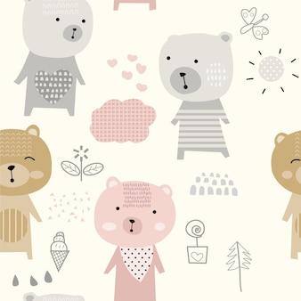 Modèle sans couture d'ours mignon