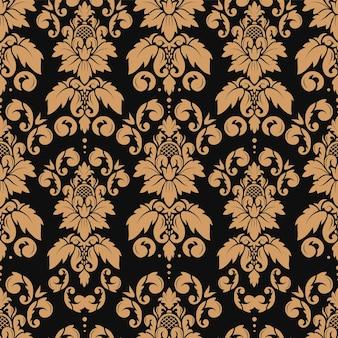 Modèle sans couture de damassé avec la conception de papier peint baroque d'ornement floral élégant de luxe en or