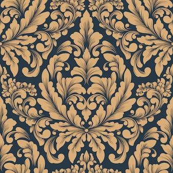 Modèle sans couture damassé de vecteur. ornement damassé à l'ancienne classique de luxe, papier peint victorien royal