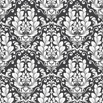Modèle sans couture damassé de vecteur. ornement damassé à l'ancienne de luxe classique, texture transparente victorienne royale pour papiers peints, textile, emballage. modèle baroque floral exquis.