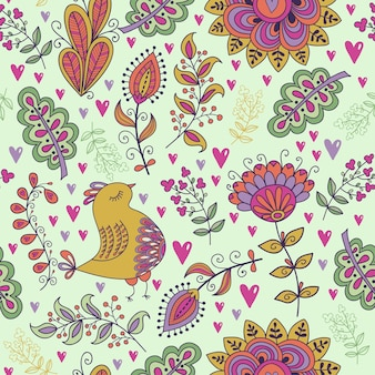 Modèle sans couture dans le style vintage doodle fleurs oiseaux feuilles et herbe rétro design