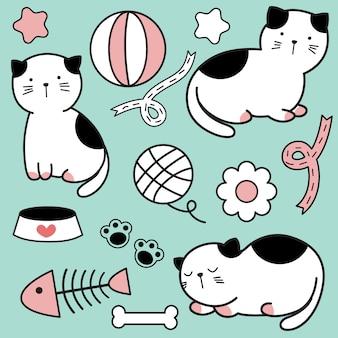 Modèle sans couture de dessin animé mignon bébé chat