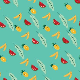 Modèle sans couture de dessin animé mignon fruits