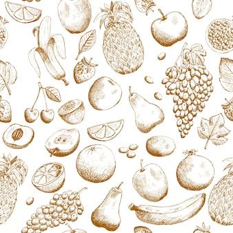Modèle sans couture de fruits dessinés à la main