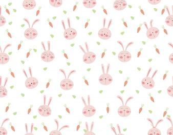 Modèle sans couture de lapin mignon avec carotte