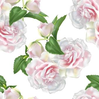 Modèle sans couture de roses roses