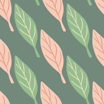 Modèle sans couture décoratif avec des éléments de feuille simples verts et roses