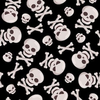Modèle sans couture décoratif d'halloween avec des crânes et des os